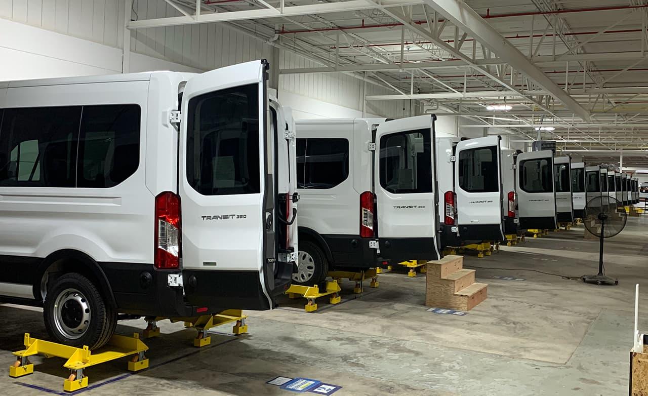 Assembly line of vans