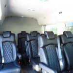 Van with stitched leather interior