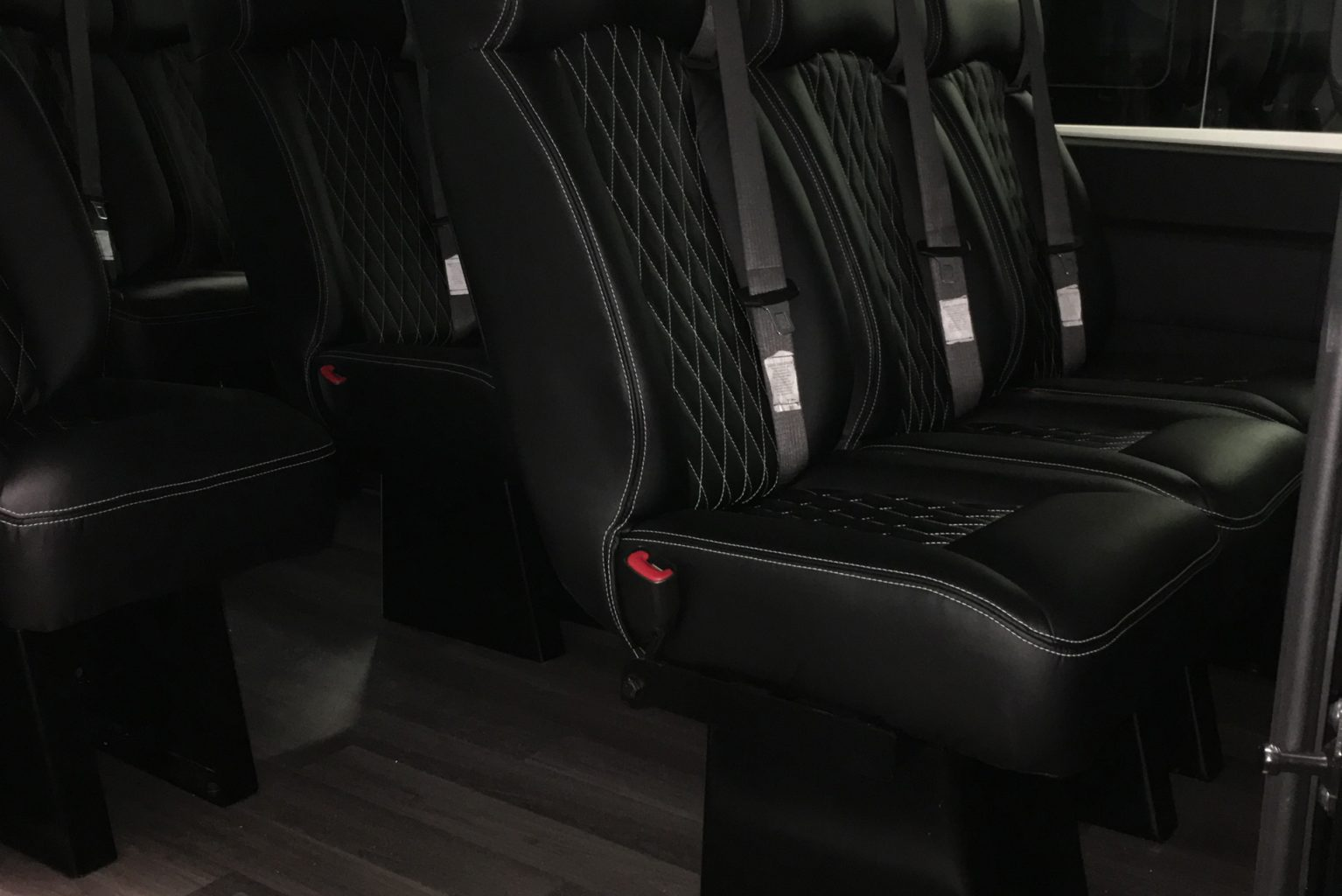 Van with leather stitched interior
